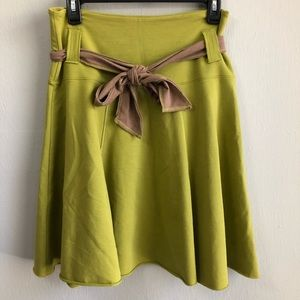 Matilda Jane olive green a line skirt raw hem S.